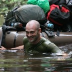 Ed Stafford finishing a record-breaking trek spanning the length of the Amazon River.
