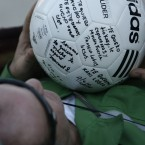 Franklin Lobos, 53, becomes the twenty-seventh rescued miner from the San Jose mine near Copiapo, Chile on October 13, 2010. Lobos was given a football to juggle as soon as he emerged: he is a former professional player. GABRIEL ORTEGA/GOVERNMENT OF CHILE