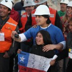 Richard Villarroel is the twenty-eighth miner to leave the San Jose mine near Copiapo, Chile on October 13, 2010. HUGO INFANTE/GOVERNMENT OF CHILE