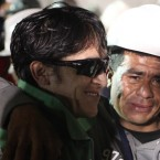 Ariel Ticona is the penultimate miner to leave the San Jose mine near Copiapo, Chile on October 13, 2010. HUGO INFANTE/GOVERNMENT OF CHILE