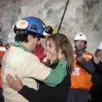 Raul Bustos is the thirtieth miner to leave the San Jose mine near Copiapo, Chile on October 13, 2010. HUGO INFANTE/GOVERNMENT OF CHILE