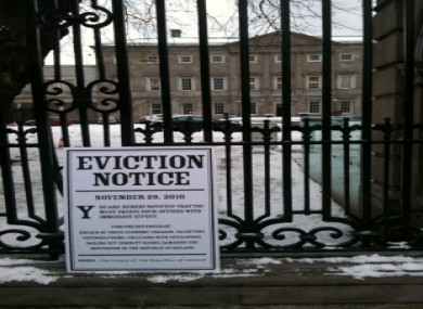 Will St Leger's eviction notice posted on the Dáil gates today.