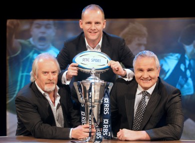 Ryle Nugent, centre, pictured with John Kenny and Brent Pope, whose commentary was heard all over Ireland and Great Britain on Saturday.