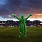 Shamrock Rovers mascot 'Hooperman' rallies the crowd in what turned out to be a title-winning season for the Tallaght side. <span class=