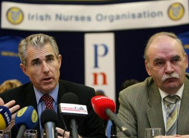 Irish Nurses Organisation (INO) General Secretary Liam Doran (left) and Psychiatric Nurses Association General Secretary Des Kavanagh