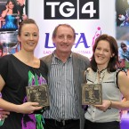 Waterford stars, Mary O'Donnell, left, and Rebecca Hallahan with former Waterford team manager Michael Ryan.