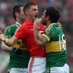 Cork's Eoin Cadogan squares up with Kerry's Paul Galvin in the infamous 'fishhook' incident during the Munster SFC semi-final replay in June.