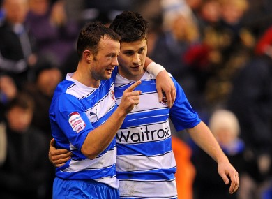 Reading's Irish strikers Shane Long, right, and Noel Hunt celebrate their side's first goal.