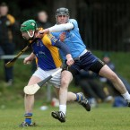 UUJ's Joe Downey tackles Ian Duggan of St Pats/Mater Dei in the Ulster Bank Fitzgibbon Cup Round 1 in Drumcondra.<span class=