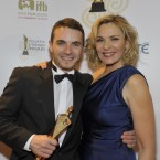 Martin McCann, winner of Lead Actor in a Film for his role in Swansong, with Kim Catrell. Photo by KOBPIX.