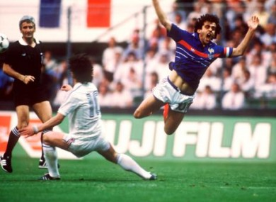Michel Platini floats through the air with the greatest of ease