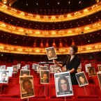 Aimee Hall lays out heads on sticks marking the seating plan for Sunday night's BAFTAs in London.<span class=