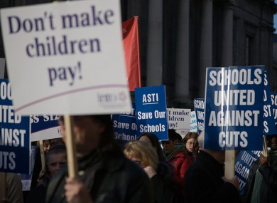Teachers' unions protesting against education cuts last year in Dublin