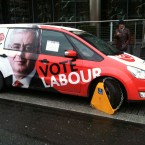 An amused onlooker takes a snap of a Labour electionmobile clamped outside their HQ in Dublin. Pic: Gavan Reilly