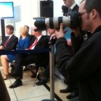 Fianna Fail's Eamon O Cuiv gave into trail fatigue - at his own party press conference. Pic: @BrianODTV3.