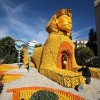 The Sphinx is recreated with lemons and oranges during the 78th Lemon festival in Menton, France. (AP Photo/Lionel Cironneau)