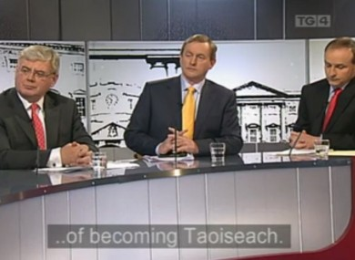 Eamon Gilmore, Enda Kenny and Micheál Martin were sat in alphabetical order for this evening's TG4 debate.