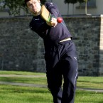 Ireland captain Brian O'Driscoll gets in the swing of things with a cricket bat at Carton House. <span class=