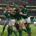 Ireland's Tommy Bowe celebrates his try with team-mates.