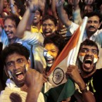 Indian cricket fans celebrate their team's win in the ICC World Cup semi-final against fierce rivals Pakistan.<span class=