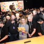 Excited journos and Apple fans crowd around the iPad2 at its UK launch at the BBC Television Centre in London. Pic: PA.