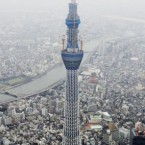 The Tokyo Sky Tree, a new landmark tower still under construction in Tokyo and aiming to be 634 metres tall when it's completed later this year. Pic: AP Photo/Koji Sasahara.