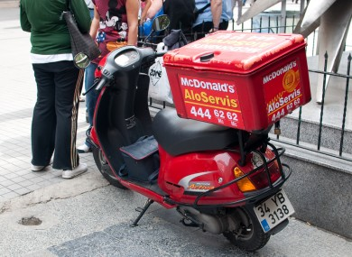 A McDonald's delivery scooter in Istanbul, Turkey. McDonalds Ireland has distanced itself from a delivery service set to launch in Dublin next week.