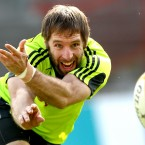 Tomás O'Leary gets in some practice at Munster squad training in Limerick.