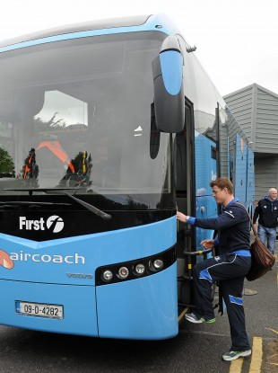 O'Driscoll boards the bus on the first leg of Leinster's journey to Cardiff for tomorrow's Heineken Cup final
