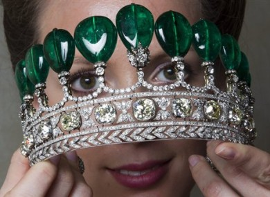 An extremely rare emerald and diamond tiara dating from around 1900 which fetched €8.9m at auction.