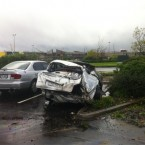 A car in Albany destroyed by the storm, via @noozeeland on Twitter
