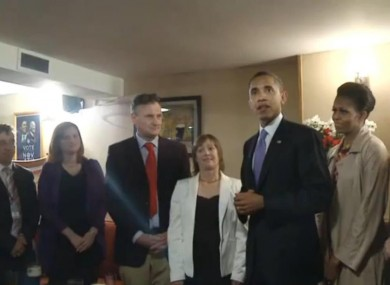 Obama speaks to the punters at Ollie Hayes in Moneygall on Monday.