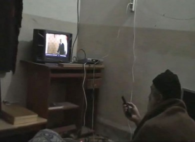 An image of Osama Bin Laden watching television released by US officials