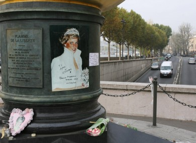 Tributes to Princess Diana close to the Pont d'Alma tunnel where she, Dodi Al Fayed and Henri Paul lost their lives (File photo)