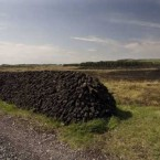 A gorse fire almost reached this stack of turf in Mayo before the blaze was extinguished