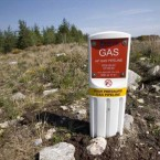 A sign for the location of the Shell Corrib Gas pipeline, just 500 yards from where a gorse fire raged at the weekend