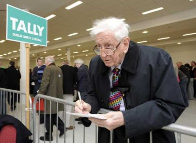 Former Taoiseach Garret Fitzgerald at the Dublin North count for Election 2011 just three months ago