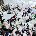 Students have fun tossing and throwing paper at a high school in Yangzhou, China. (Meng delong/AP/PressAssociation)