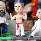 Figurines of Osama bin Laden, George W Bush and Barack Obama (Image: PA)