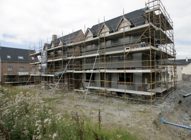 A terrace of unfinished houses on the Rinuccini private housing development in Portlaoise, Co Laois.