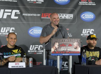 Dana White with the fighters.