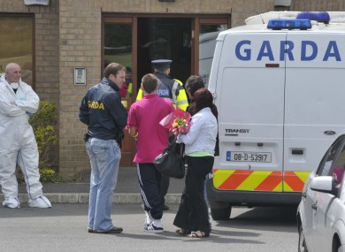 The scene outside the apartment complex in Santry on Thursday morning.