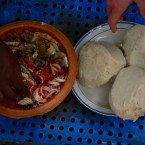 Banku, cooked fermented maize and cassava dough (Third favourite in Ghana)<span class=