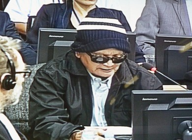 Nuon Chea, who was known as Brother No. 2 in the former Khmer Rouge government after the late Pol Pot, faces a U.N.-backed tribunal in Phnom Penh. The image is taken from a screen in the press room.