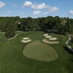 The longest par 3 on the course will almost certainly play the toughest for the week and begins a difficult three-hole stretch. The green is relatively small for the length of the hole and is protected by six bunkers. A ridge runs through the center of the putting surface, which slopes from back left to front right. A 3 is an excellent score for the hole.
