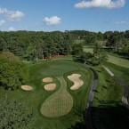 The seventh hole is a medium-length par 3 that plays uphill to a two-tiered green. Deep bunkers guard the front of the green, although a player who misses the green in any direction will be left with a very difficult recovery. Regardless of which tier the hole location is on, staying below the hole will be very important on this green that has a pronounced pitch from back to front.