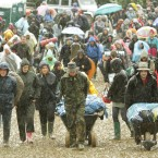 Festival goers arriving at the Glastonbury Festival in Somerset. Pic: Yui Mok/PA Wire