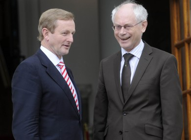 The Taoiseach and Van Rompuy at government buildings today.