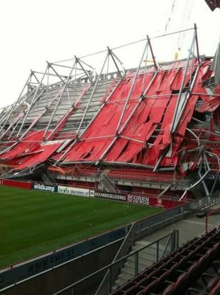 The scenes at the  De Grolsch Veste stadium this morning.