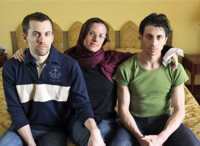 From left: Americans Shane Bauer, Sarah Shourd and Josh Fattal during their detention in Tehran in May 2010.